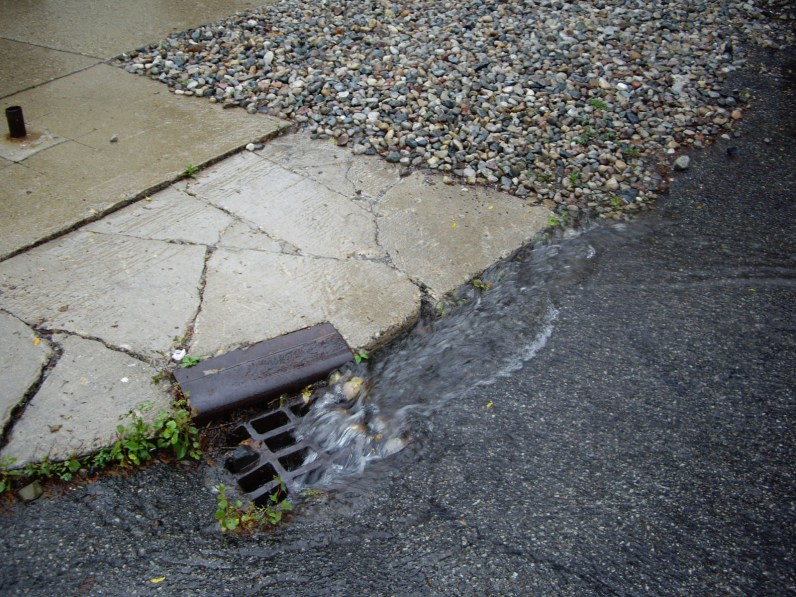 Traditional stormwater management moves water into a catch basin as quickly as possible.