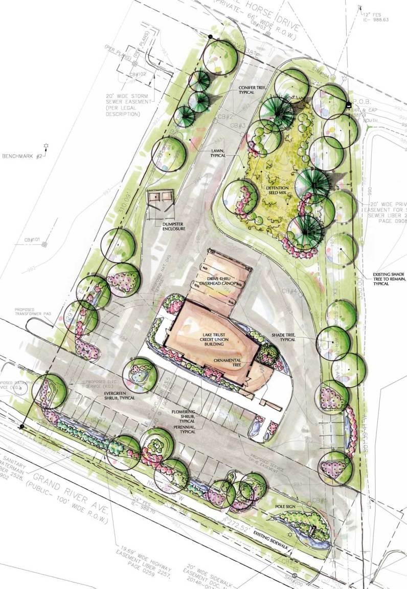 secure landscape, concept plan, rendered landscape plan