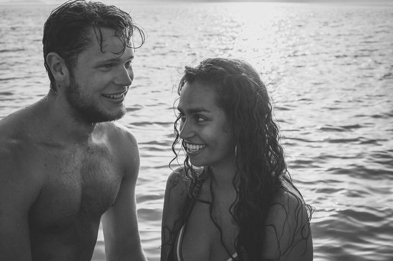 Greece Destination Engagement - Corfu - shy couple having their first photos