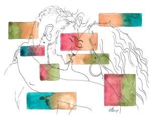 Schilderij : Illustratie van twee geliefden, aquarel