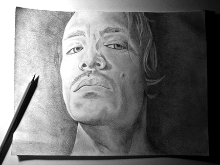 Pencil drawing of Brandon Boyd
