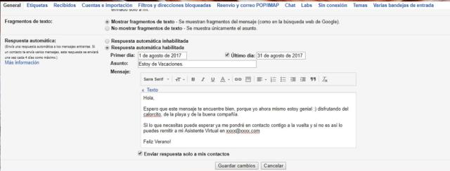 Programar mensaje fuera de oficina gmail