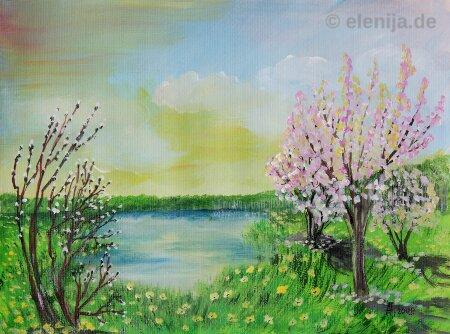 Wilde Apfelbäume voller Blüte, von Elenija
