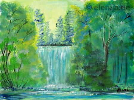 Wasserfall im Wald, von Elenija
