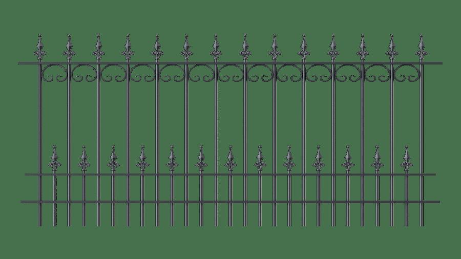 Zaunelemente Lucca in gerader Ausführung mit Spitze Kugellilie, pulverbeschichtet