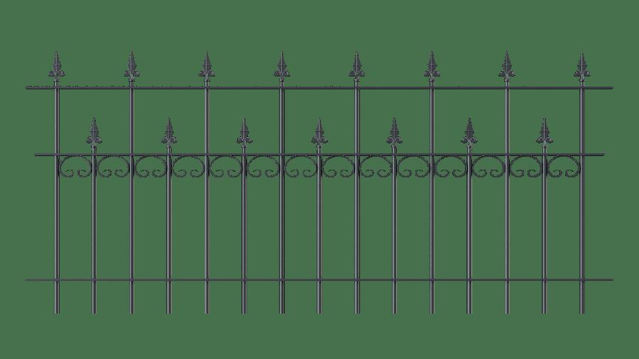 Zaunelemente Lana in gerader Ausführung mit Spitze Kreuzlilie, pulverbeschichtet