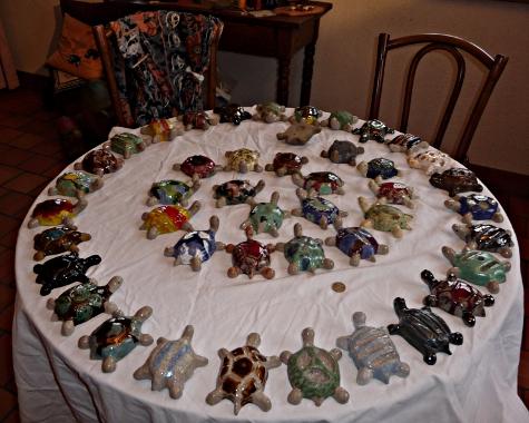 tortues de salon _ spirale numérotée 1 à 17 au centre