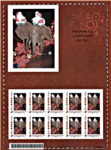 Timbre TPP Cuir elephant de noel valeur France 20 G