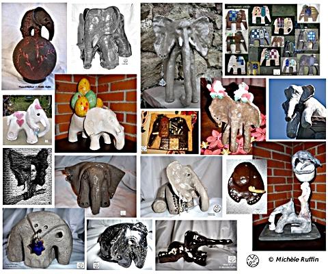 mosaÏque d'éléphants (leur point commun : tous en céramique)