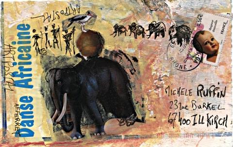 """art postal """"danse africaine"""" © AF FERRET"""