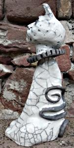 """Charaku02"" profil - sculpture raku © Michèle Ruffin"