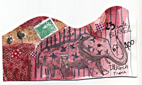 Art postal éléphantesque vu par Gaël