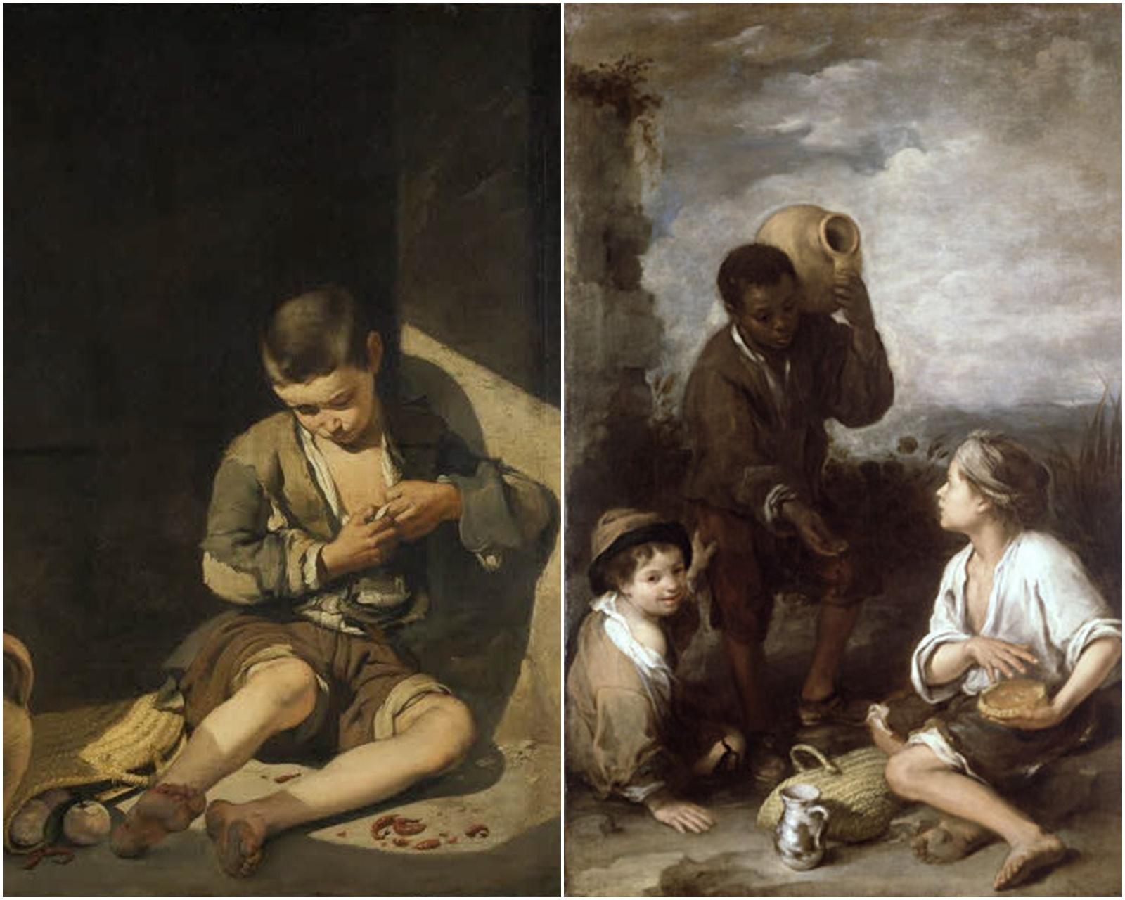 Niño espulgándose y Tres muchachos. Murillo