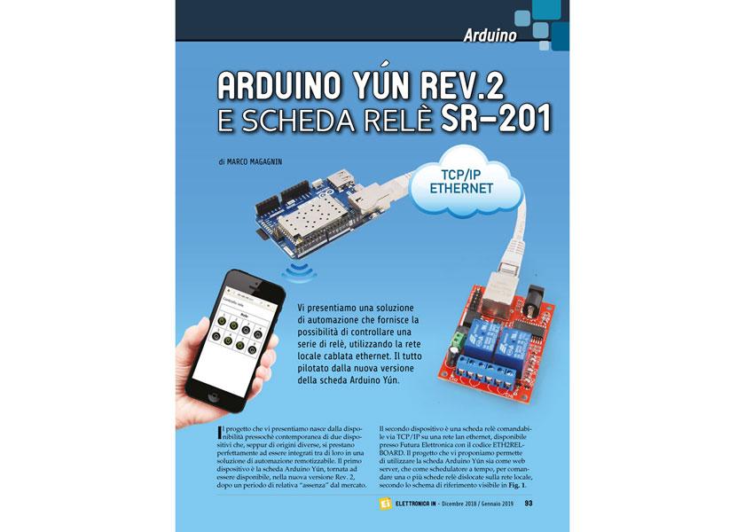 Rivista arduino yun con board ethernet a relè elettronica in