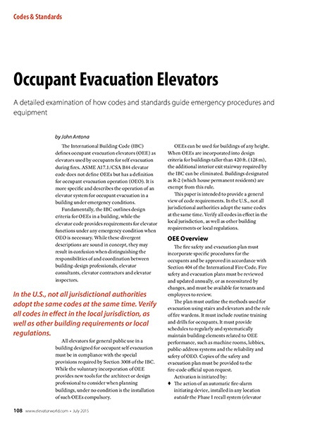 2015 July Occupant Evacuation Elevators