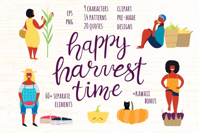 Happy Harvest Time Vector Set