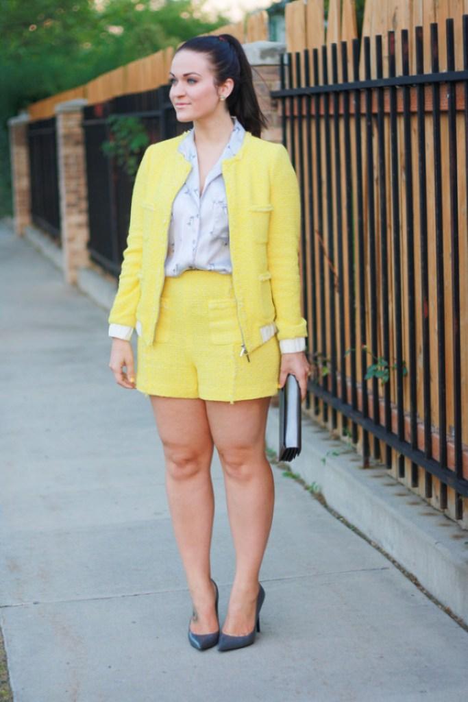 Yellow Tweed Shorts