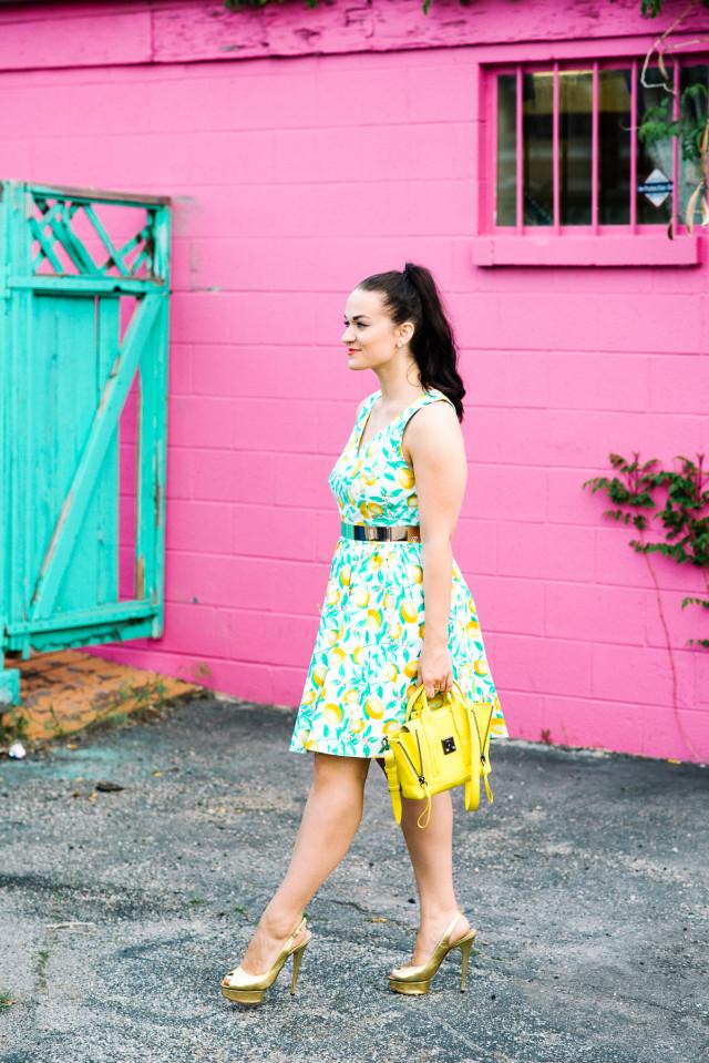 Elle Lemon Print Dress