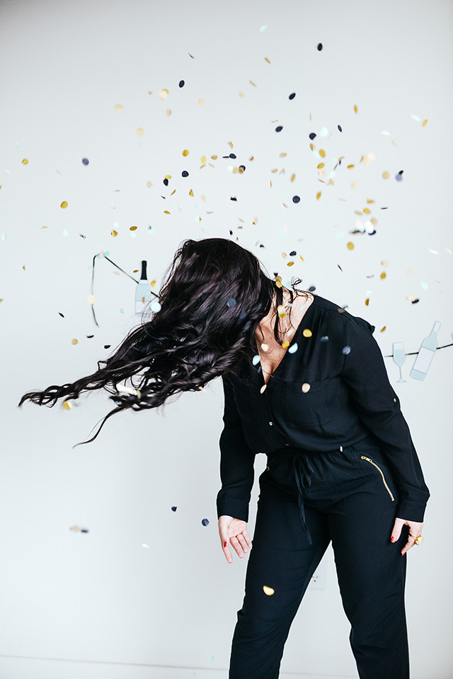 Confetti and Black Outfit