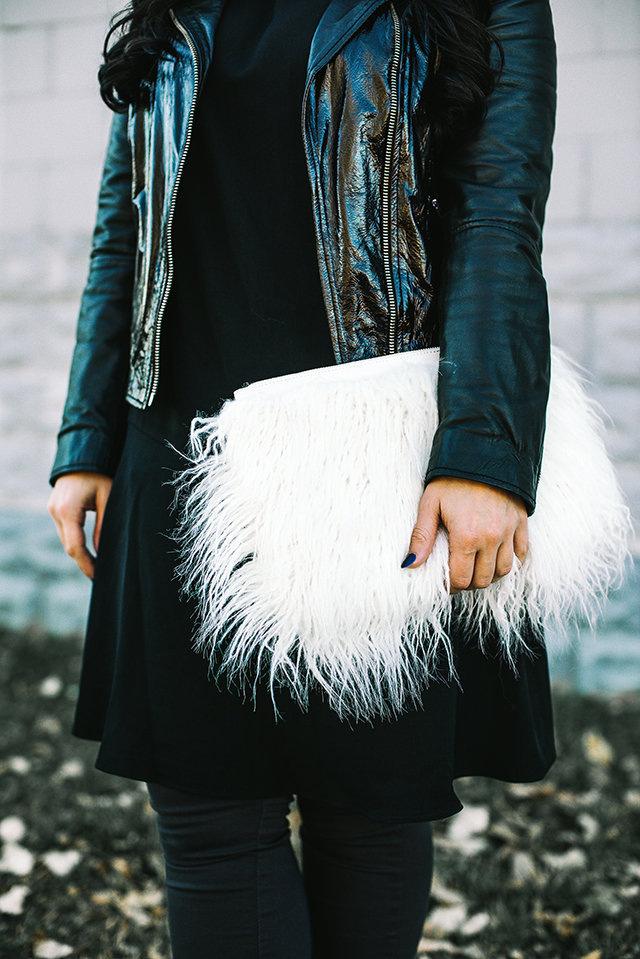 New Look Faux Mongolian Fur Clutch