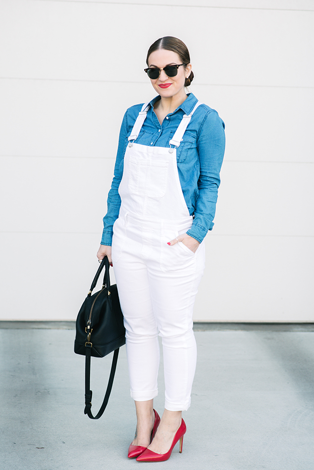 GAP White Denim Overalls