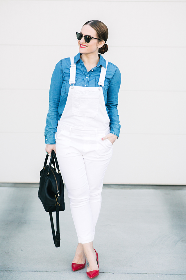 White Denim Overalls Outfit