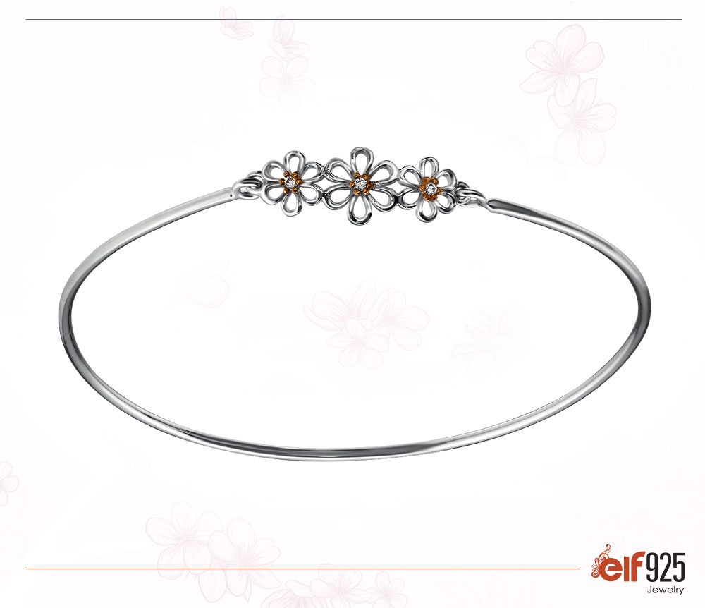 Photo of Sterling Silver Jewelry Flower Bangle