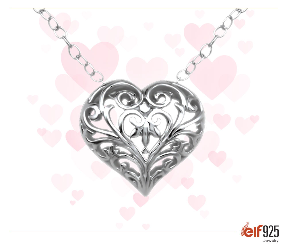 Image of Sterling Silver Jewlery Heart Necklace