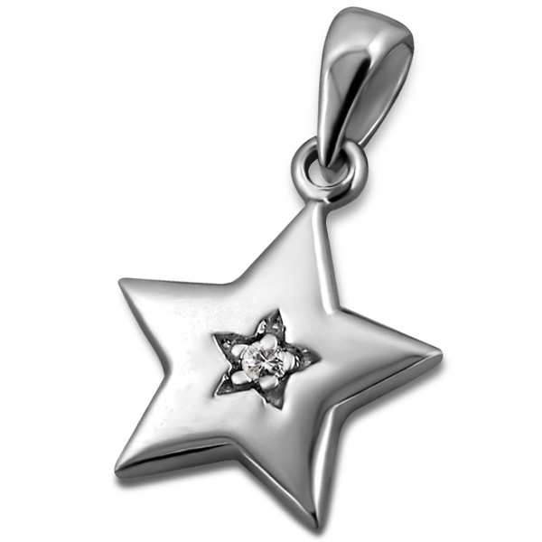 silver-star-with-real-diamond-pendant
