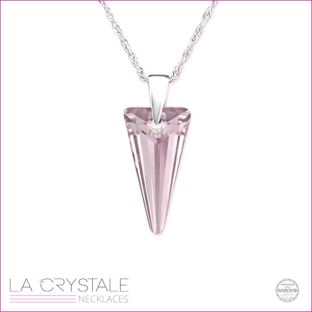 sterling silver necklace with pink Swarovski crystal®