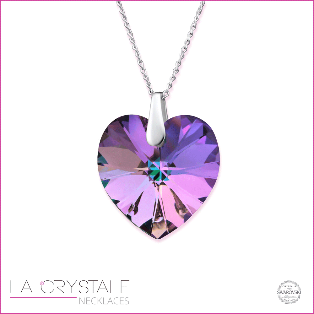 silver necklace with heart shaped Swarovski crystal®