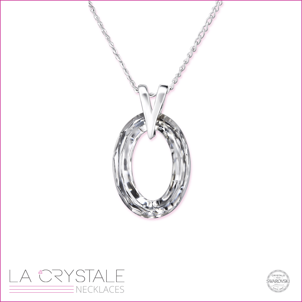 silver necklace with clear Swarovski® crystal