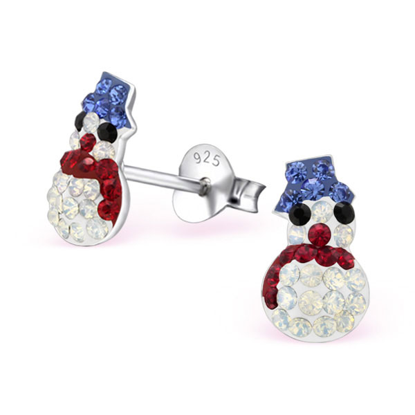 Snowman: Xmas themed silver studs