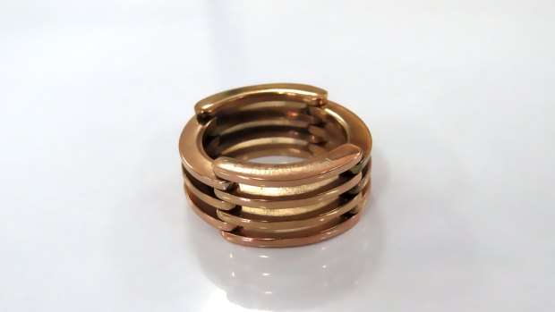 Stainless steel stack ring for women, rose gold plated, collapsible