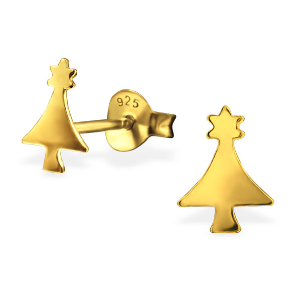 Xmas tree: children's ear studs (silver with gold plating)