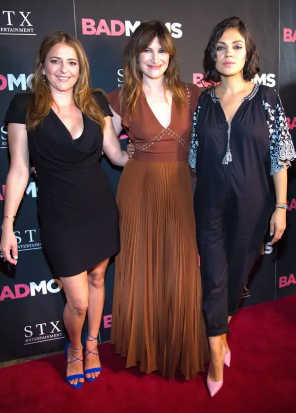 """Actress Annie Mumolo, from left, Actress Kathryn Hahn, and Actress Mila Kunis attend a special screening of """"Bad Moms"""" at Metrograph on Monday, July 18, 2016, in New York. (Photo by Scott Roth/Invision/AP)"""