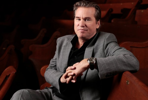 In this Jan. 9, 2014 photo, Val Kilmer poses for a portrait in Nashville, Tenn.  Kilmer is undergoing tests for a possible tumor, according to his representative.  Liz Rosenberg confirmed Saturday, Jan. 31, 2015 that the 55-year-old actor is at a Los Angeles hospital and that doctors are ìencouraged by his progressî and hopeful he will make a full recovery.  (AP Photo/Mark Humphrey)