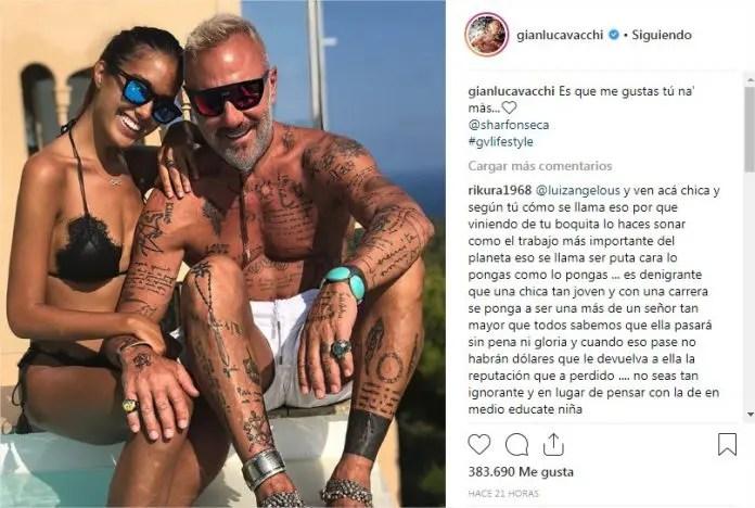 09663484098dd fue el mensaje que acompañó la instantánea en la que se puede ver a Sharon  con un traje de baño negro y a Gianluca con unos pantalones cortos y sin  camisa.