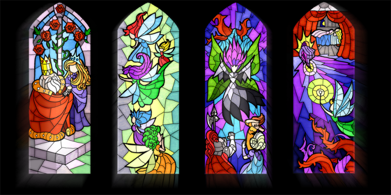 Little Briar Rose stained glass prototype