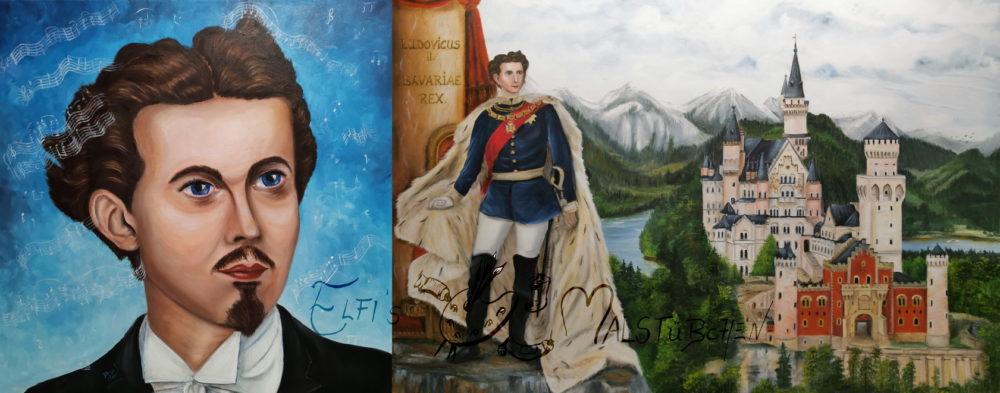 König Ludwig II., König von Bayern mit Schloss Neuschwanstein