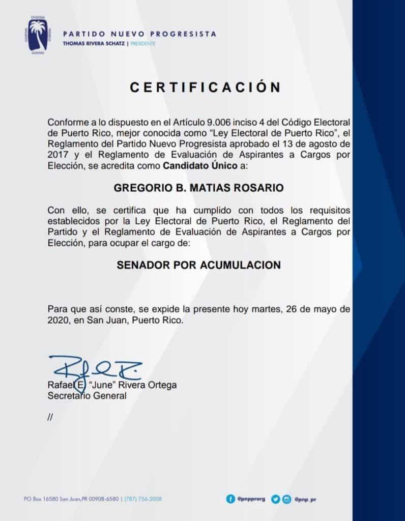 Gregorio Matías será la persona que sustituirá a Abel Nazario en el Senado