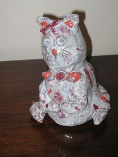 """Photo of """"Cat with Mouse"""" sculpture by Gabi (10yo)"""