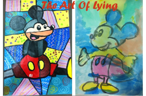 the art of lying mickey mouse painting