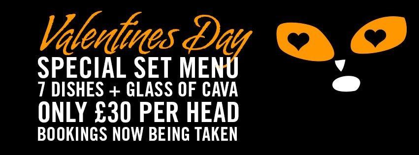 Valentines menu at EL Gato Negro
