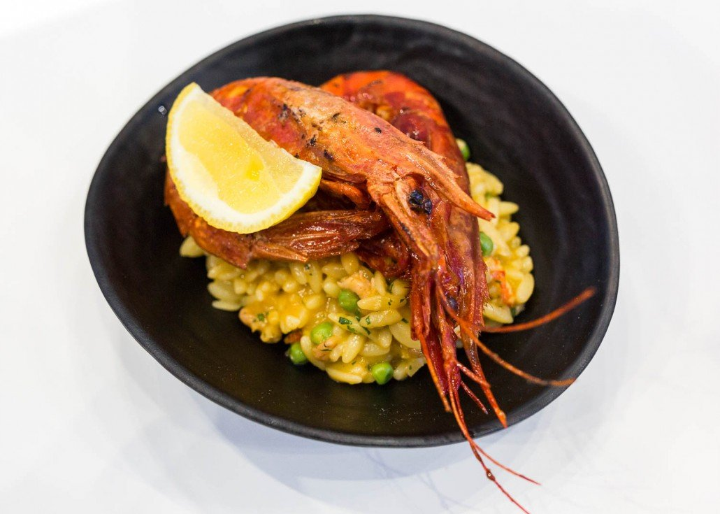 Carabineros prawns with shellfish rice