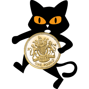 Black Cat with pound coin for Action Against Hunger