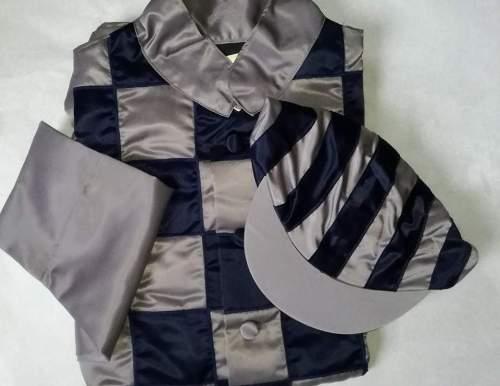 casaque satin jockey galop motifs cousues