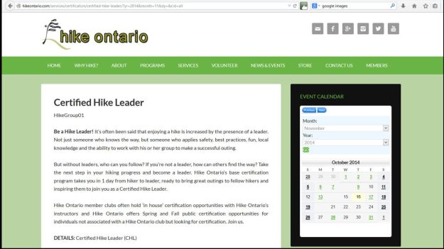 Hike leader certification Nov 15th in London
