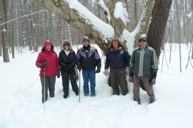 Hardy group hiking thru the deep snow at Springwater.