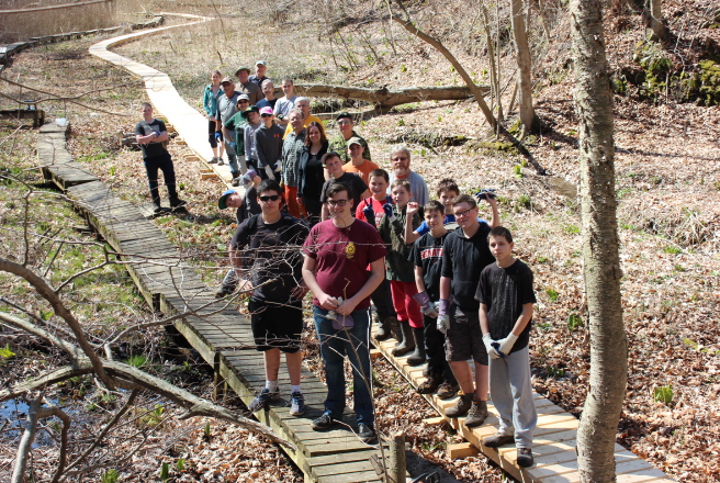 Boardwalk completed in record time with help from eighteen cadets.